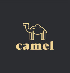Camel simple logo design line style minimalist vector