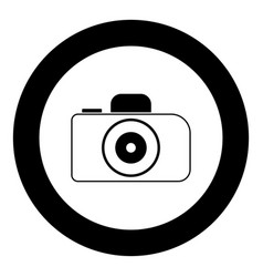 Camera icon black color in circle vector