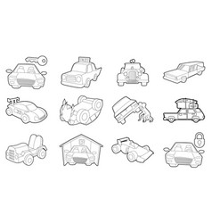 Car icon set outline style vector