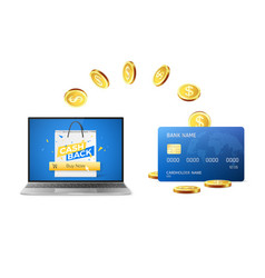 cashback concept golden coins return to credit vector image