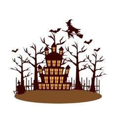 Celebration card halloween scene vector