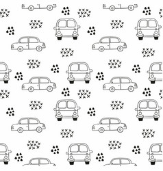 children seamless pattern with cars outline vector image