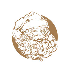 christmas card portrait of santa claus with a vector image