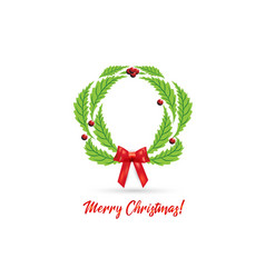 christmas wreath with red bow ribbon vector image