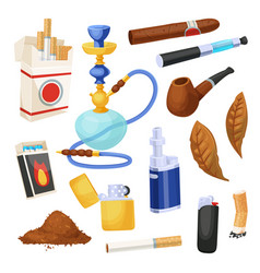 cigarette and tobacco icon set smoke product vector image