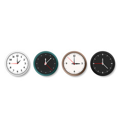 clock realistic wall circle watches with hour vector image