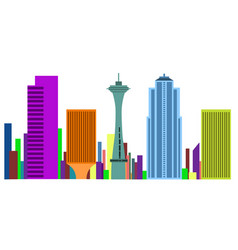 colored cityscape of seattle vector image