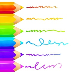 Colored pencils bright colorful set background vector image