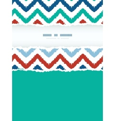 Colorful ikat chevron frame vertical torn seamless vector
