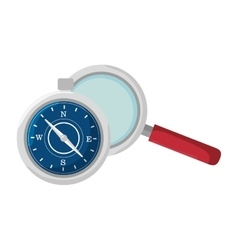 Compass and magnifying glass vector