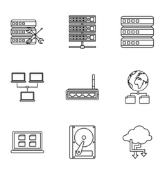 Computer repair icons set outline style vector image