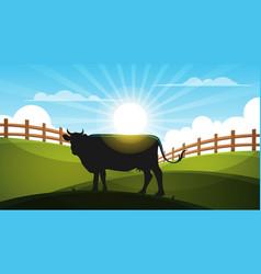 Cow in the meadow - cartoon landscape vector