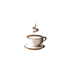 creative brown coffee mug logo vector image