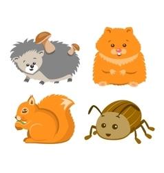 Cute Animal Squrrel Hedgehog Hamster Beetle vector