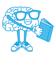 cute brain reading cartoon vector image