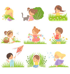 cute happy kids having fun on green meadow set vector image