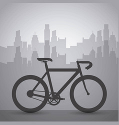 dark bike with cityscape building urban transport vector image