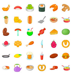 delicious food icons set cartoon style vector image