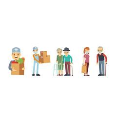 delivery services volunteering food store vector image