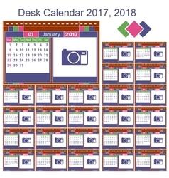 Desk calendar 2017 2018 vector