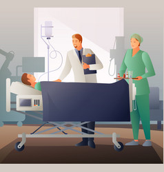 Doctor and sick flat composition vector