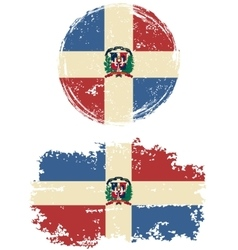 Dominican republic round and square grunge flags vector