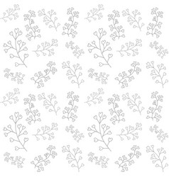 Doodle flower seamless pattern isolated on white vector