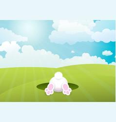 easter bunny in sunny landscape background vector image