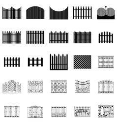 Fence silhouettes set vector