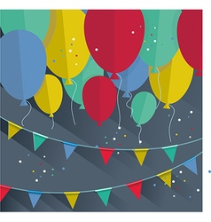 Flat happy Birthday festive background with vector