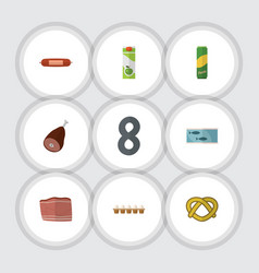Flat icon eating set of beef tin tuna spaghetti vector
