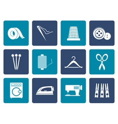 Flat Textile objects and industry icons vector