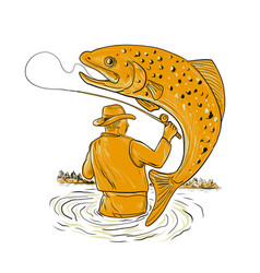 Fly fisherman reeling trout drawing vector