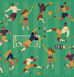 football soccer players cheerleaders fans set of vector image