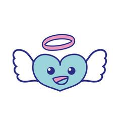 Full color happy heart angel kawaii cartoon vector