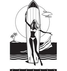 Girl with surfboard on beach vector