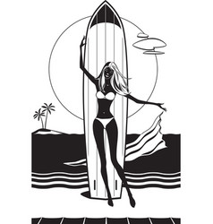 Girl with surfboard on the beach vector