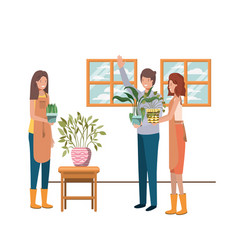 Group people with houseplant avatar character vector