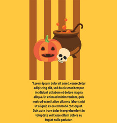Halloween pumpkin cast-iron vat of potion poster vector