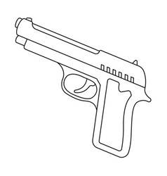 handgun icon in outline style isolated on white vector image vector image