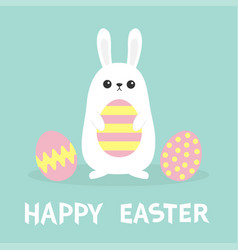 Happy easter white bunny rabbit painted pattern vector