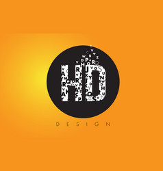 Hd h d logo made of small letters with black vector