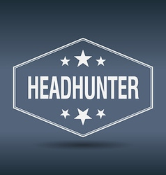 Headhunter hexagonal white vintage retro style vector