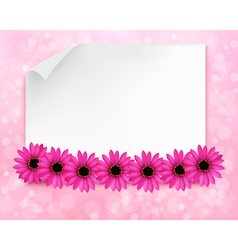 Holiday background with sheet of paper and flowers vector