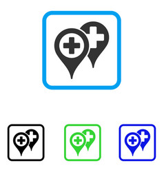 Hospital locations framed icon vector