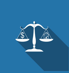 house and dollar symbol on scales icon isolated vector image
