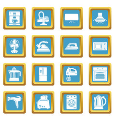 House appliance icons set sapphirine square vector