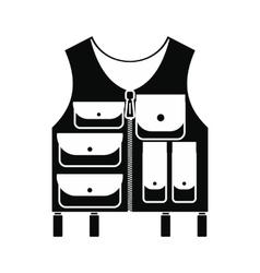 Hunter vest black simple icon vector
