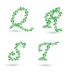 leaf text q t vector image