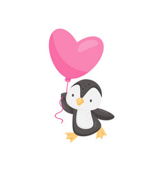 lovely penguin with pink heart-shaped balloon vector image